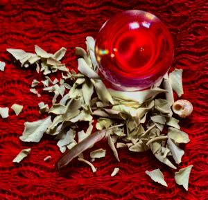 Red crystal Ball with Sage